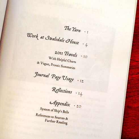 Annual Yarn: 2011 - Table of Contents