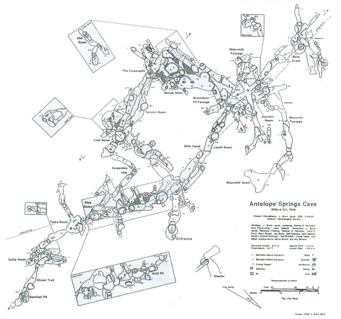 Map of Antelope Springs Cave in Fillmore, Utah