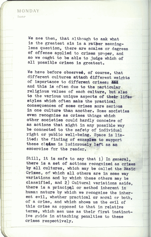 typewritten filler copy regarding the question of The Greatest Crime