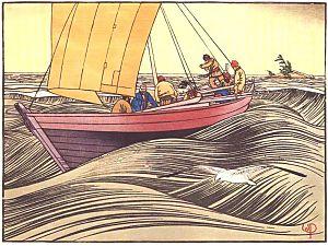 York Boat On Lake Winnipeg, 1930 by W.J. Philips